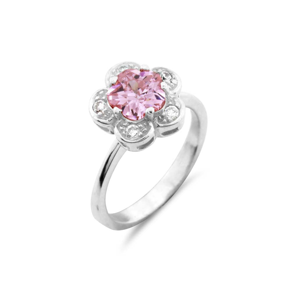 Silver Pink Halo Ring - www.sparklingjewellery.com
