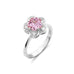 Simulated Pink Sapphire and Diamond Platinum Vermeil Ring