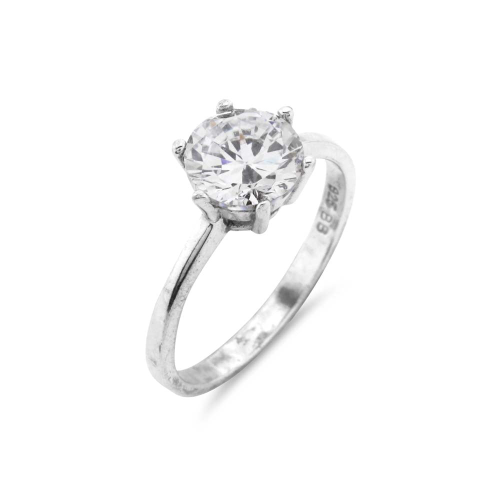 1ct Silver Solitaire Ring - www.sparklingjewellery.com