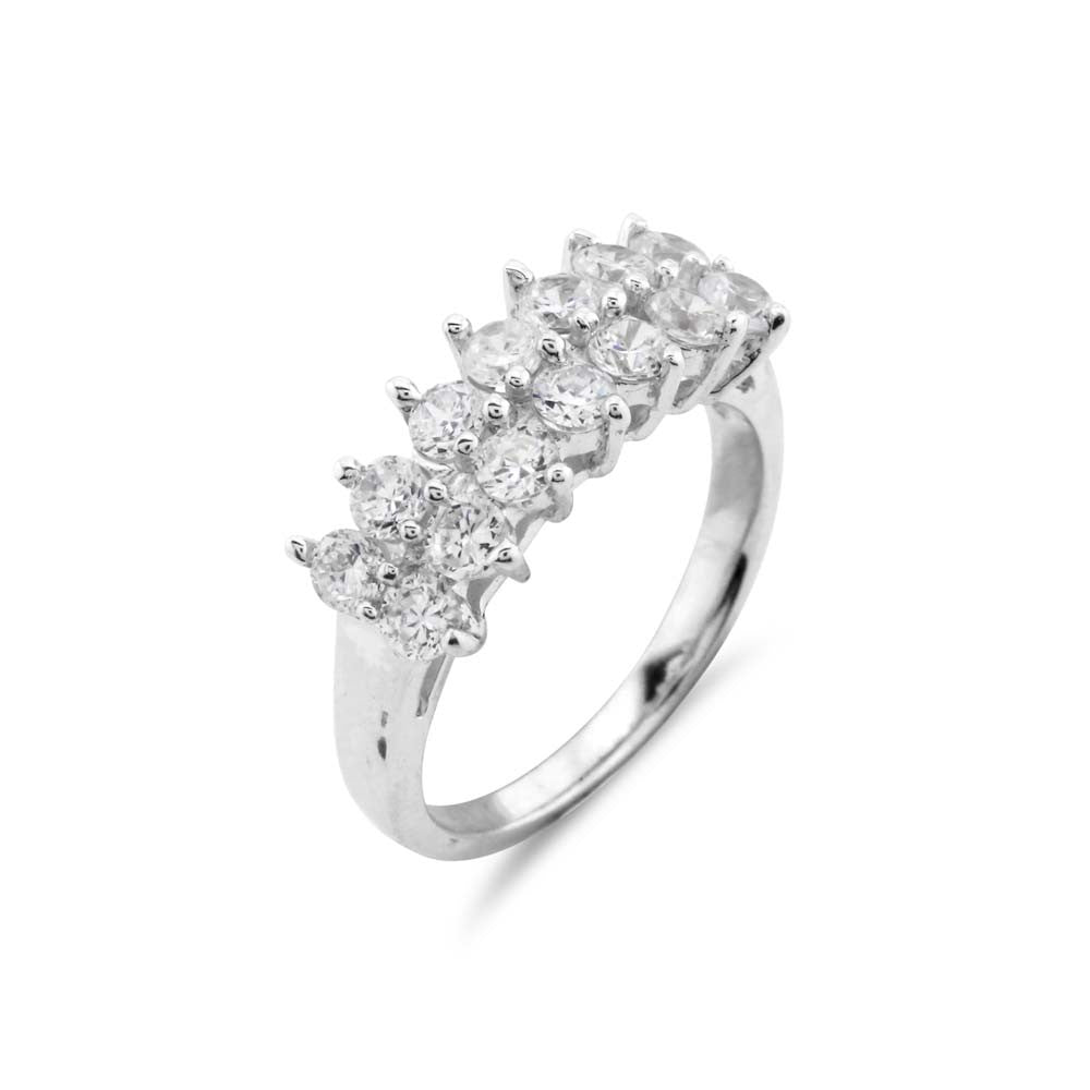 Double Row Silver Wedding Ring - www.sparklingjewellery.com