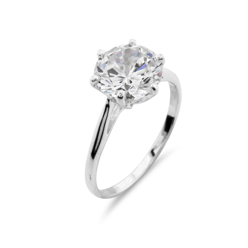 2ct Simulated Diamond Classic Solitaire Ring - www.sparklingjewellery.com