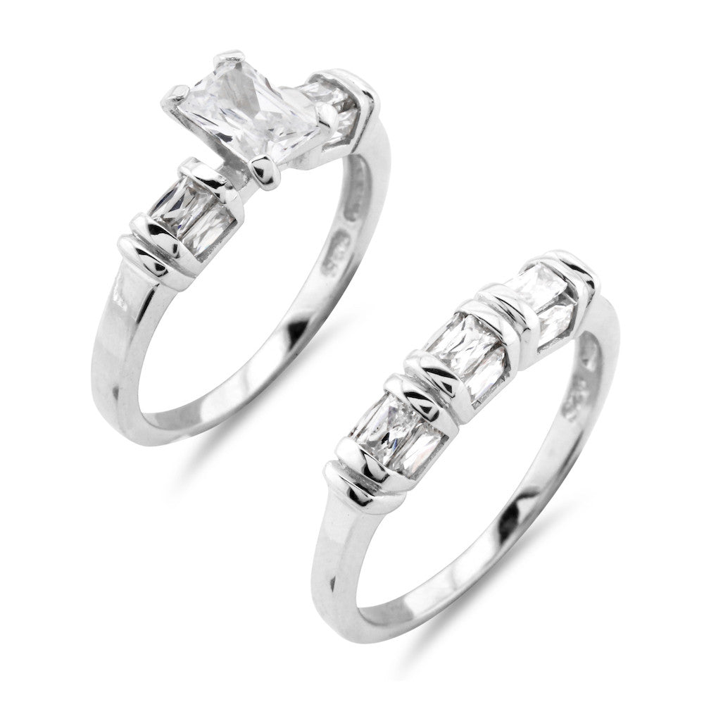 Bamboo Wedding and Engagement Ring Set - www.sparklingjewellery.com