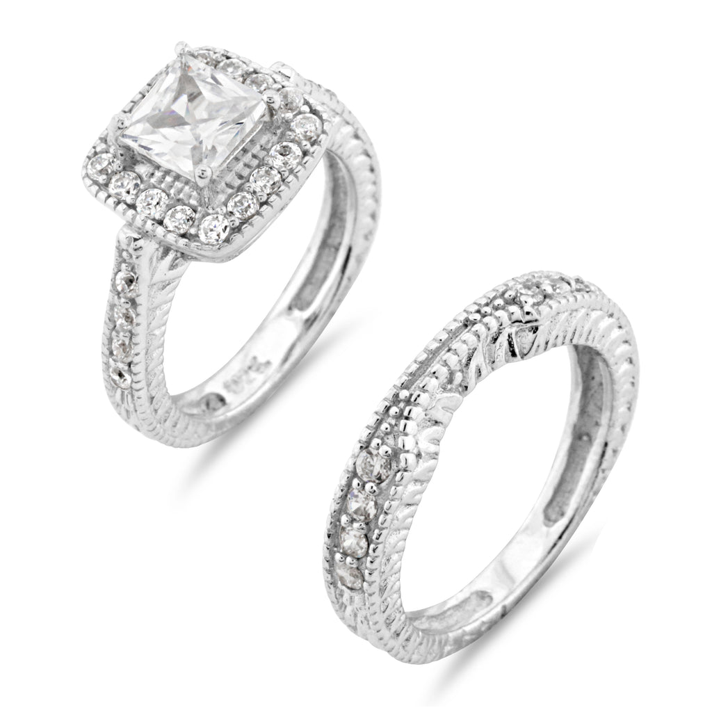 Vintage Princess Cut Bridal Ring Set - www.sparklingjewellery.com