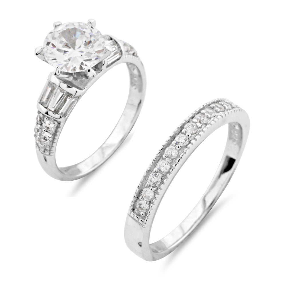 Ornate Wedding and Engagement Ring Set - www.sparklingjewellery.com