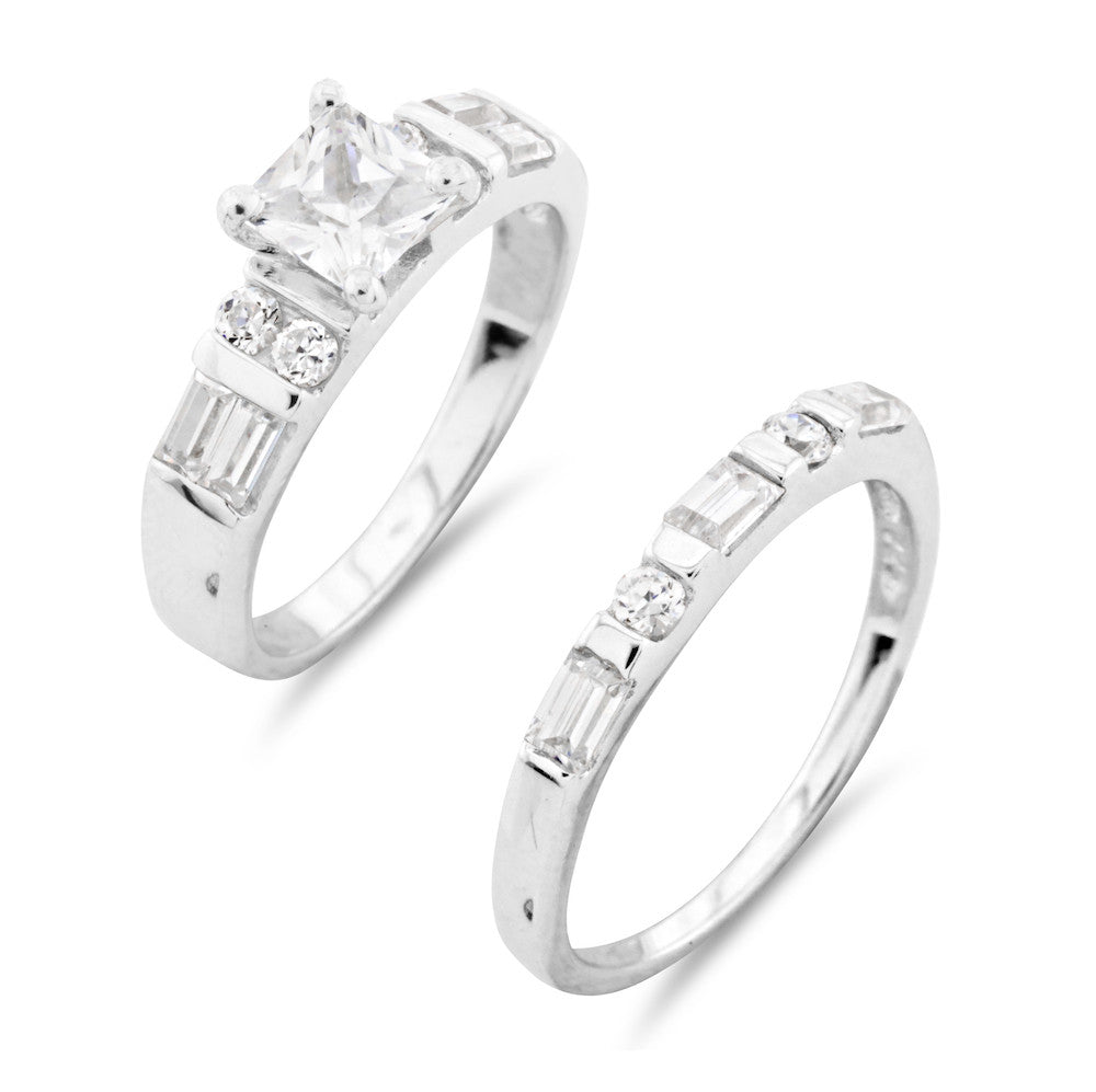 Princess Cut Square Wedding and Engagement Ring Set - www.sparklingjewellery.com