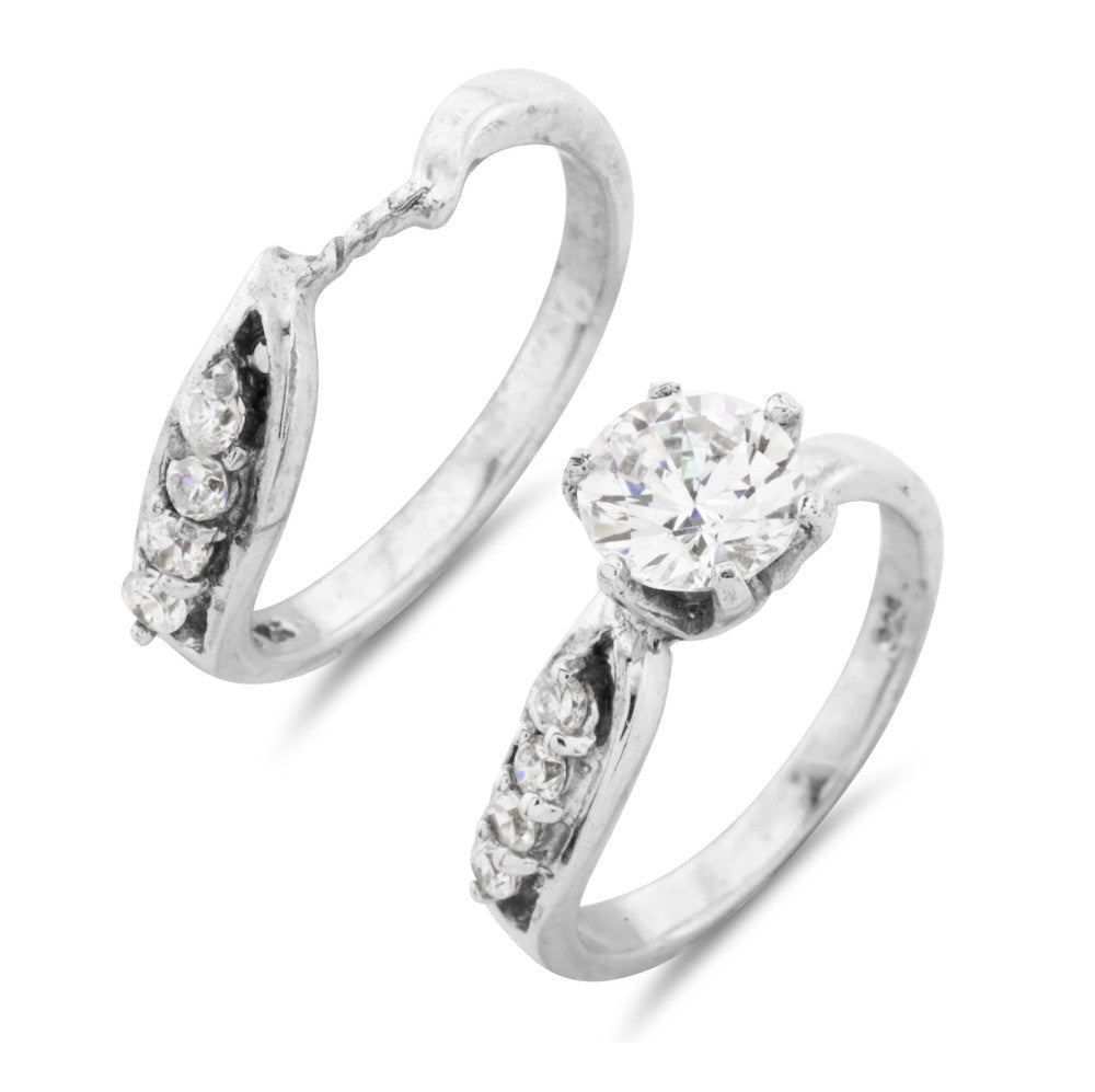 Iluminique Platinum Vermeil Cross Over Wedding Ring Set - www.sparklingjewellery.com