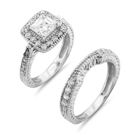 Princess Cut Vintage Art Deco Wedding and Engagement Ring Set - www.sparklingjewellery.com