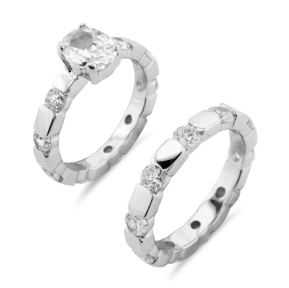 Contemporary Modern Chunky Emerald Cut Wedding  and Engagement Ring Set - www.sparklingjewellery.com
