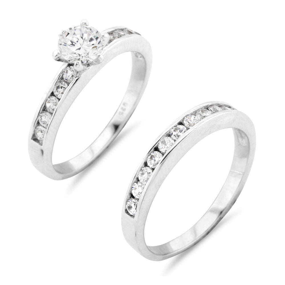Brilliant Round Cut Channel Set Wedding Ring Set - www.sparklingjewellery.com