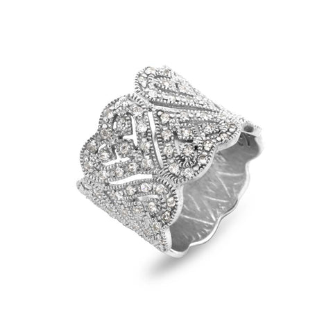 Designer Heart Dress Ring - www.sparklingjewellery.com
