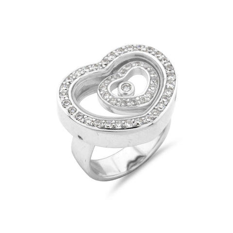 Happy Heart Sterling Silver Ring - www.sparklingjewellery.com