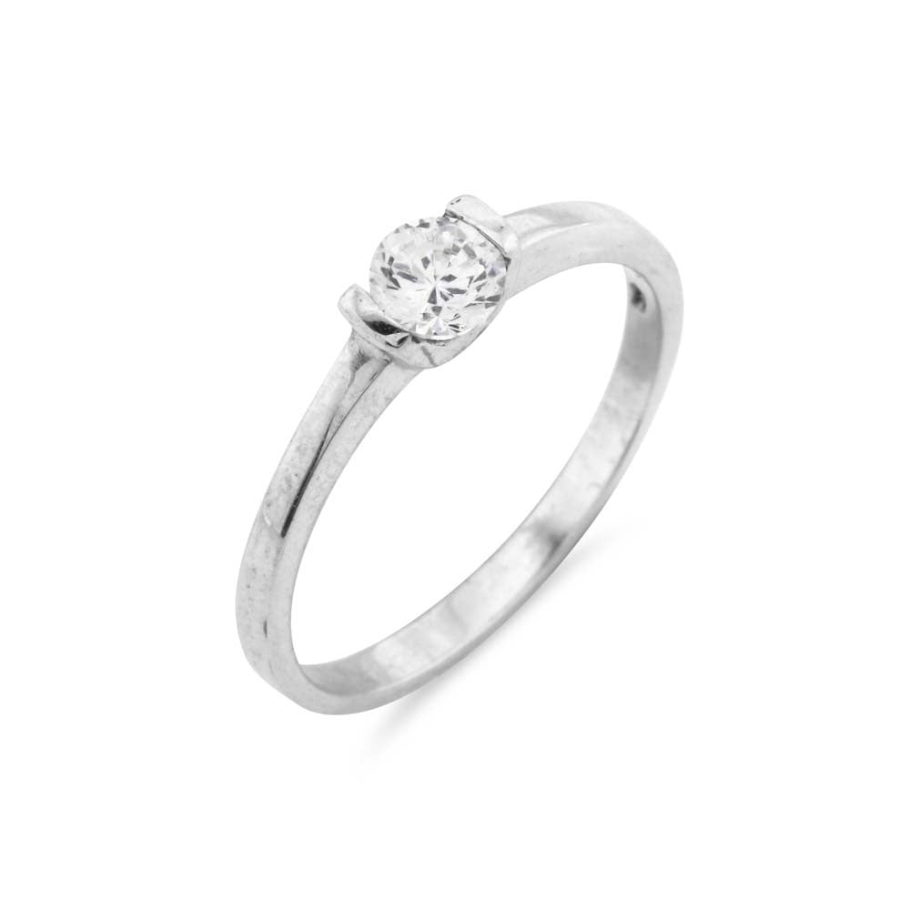 Tension Set Silver Solitaire Ring - www.sparklingjewellery.com