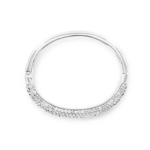 Hinged Crystal Silver Bangle - www.sparklingjewellery.com