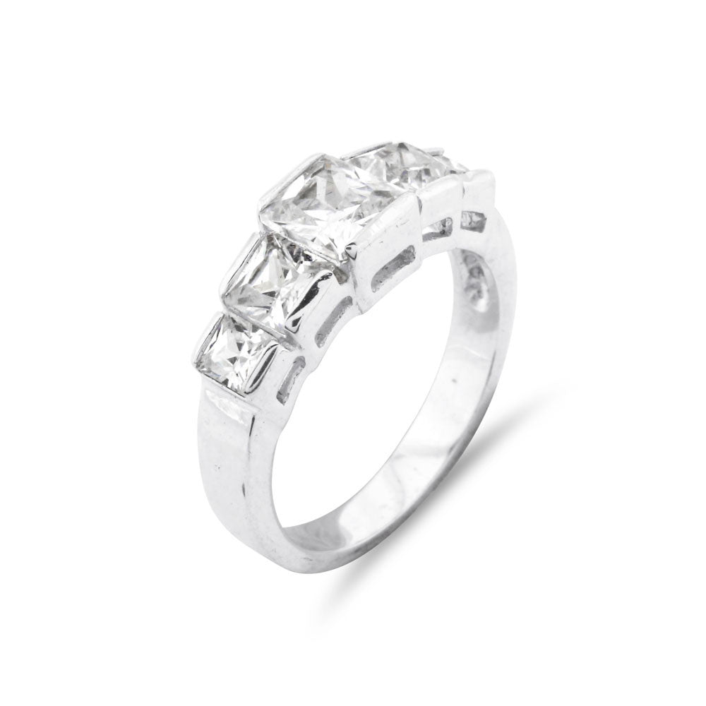 Princess Cut 5 Stone Silver Ring - www.sparklingjewellery.com