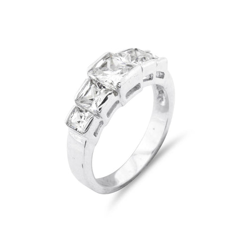 Princess Cut 5 Stone Silver Ring