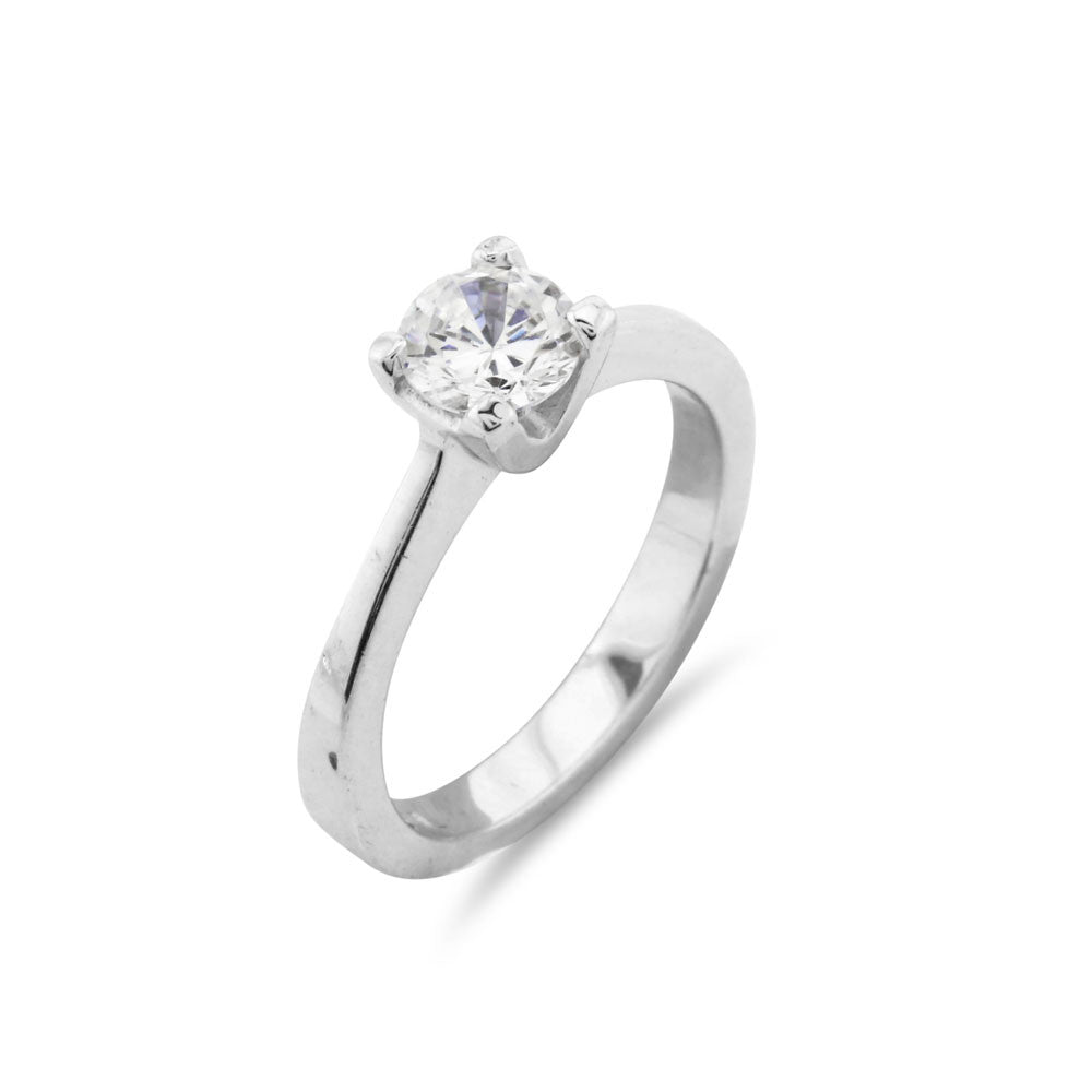 Knife Edge Solitaire Ring - www.sparklingjewellery.com