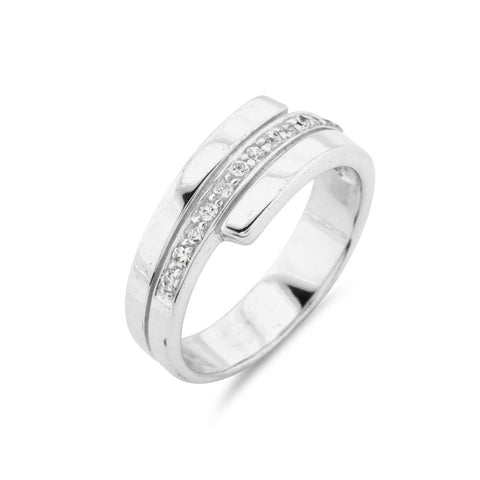 Diamond Effect Unisex Wedding Band - www.sparklingjewellery.com