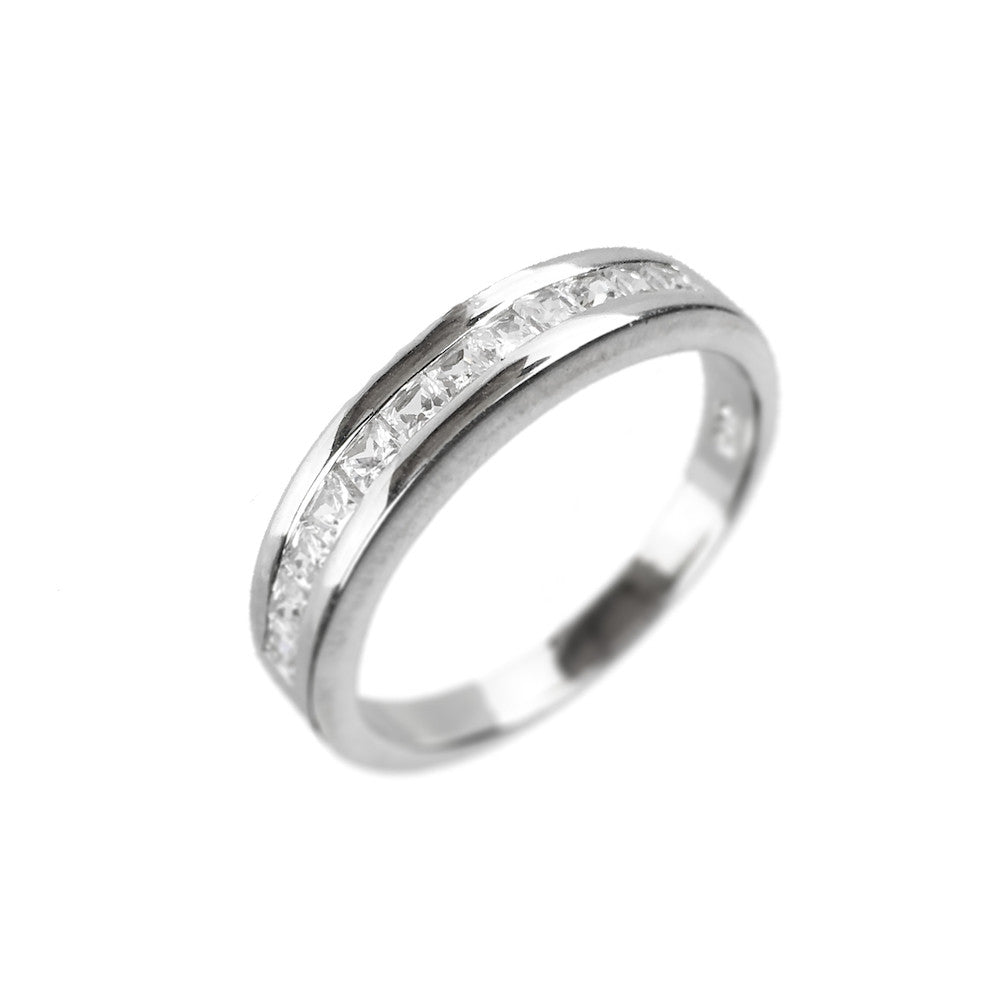 Sterling Silver Channel Set CZ Ring - www.sparklingjewellery.com