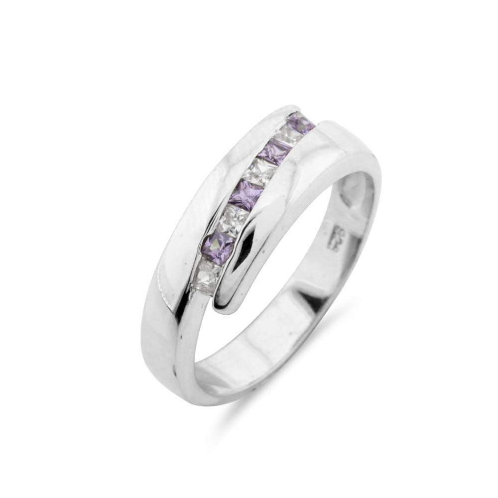 Amethyst Channel Set Wedding Band - www.sparklingjewellery.com