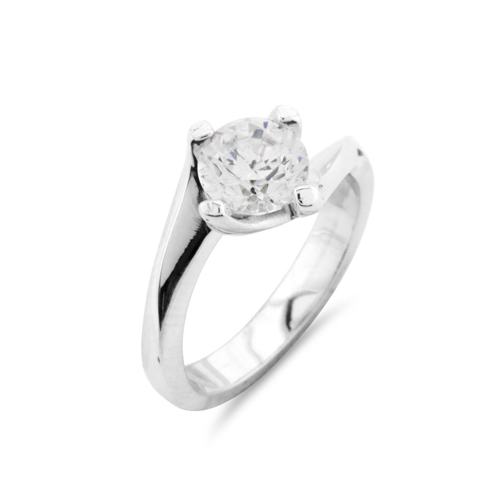 Solitaire One Carat Elevated Engagement Ring - www.sparklingjewellery.com