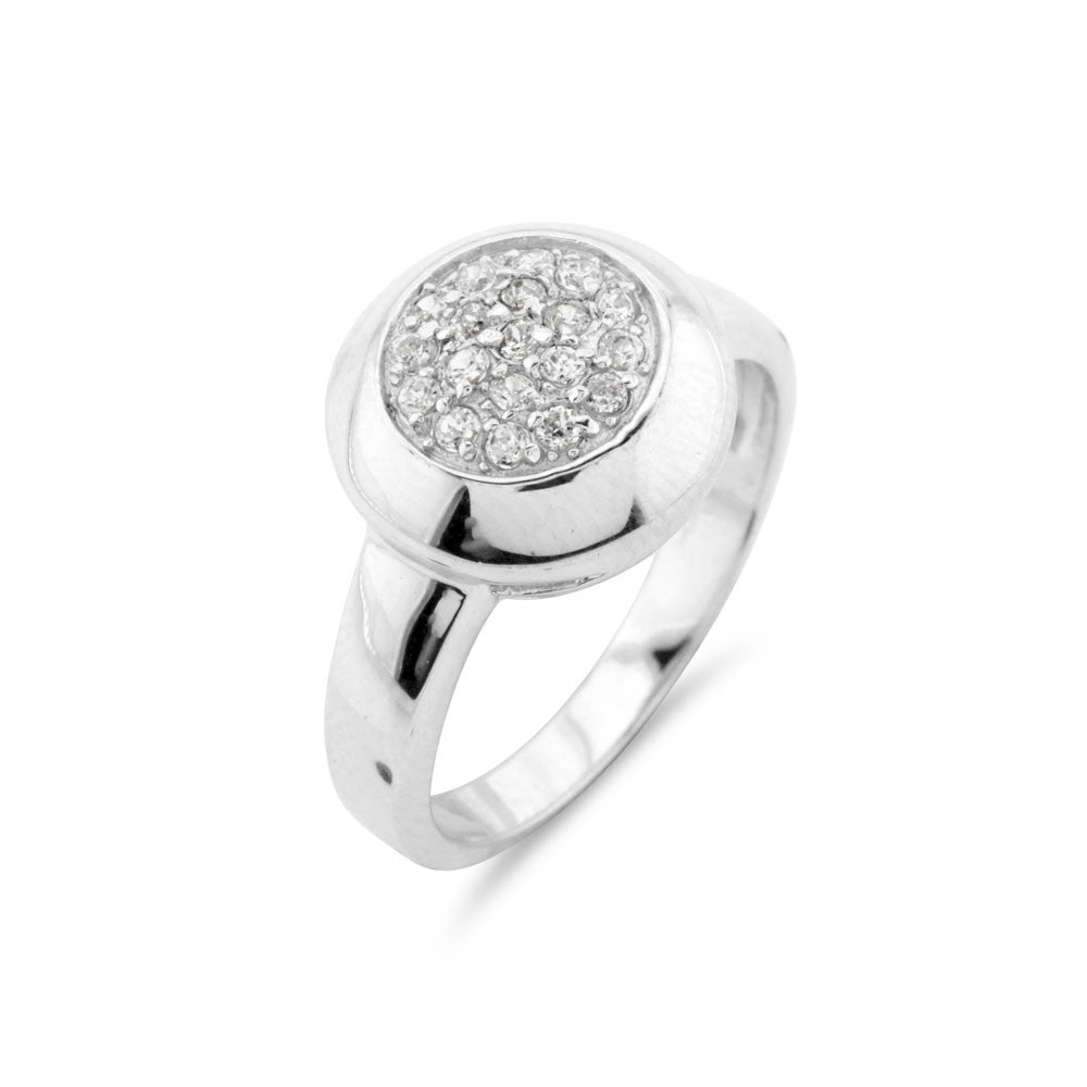 Micro Pave Round Silver Ring - www.sparklingjewellery.com