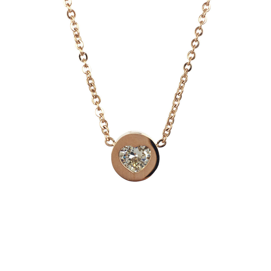 Rose Gold Heart Necklace - www.sparklingjewellery.com