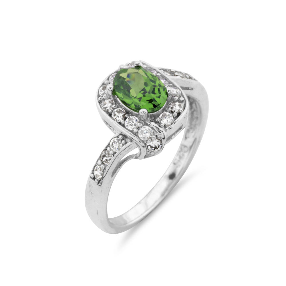 Emerald Green Halo Ring - www.sparklingjewellery.com