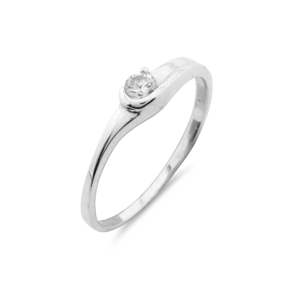 Silver Solitaire Ring - www.sparklingjewellery.com