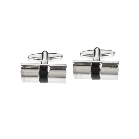 Black and Chrome Cufflinks Sterling Silver