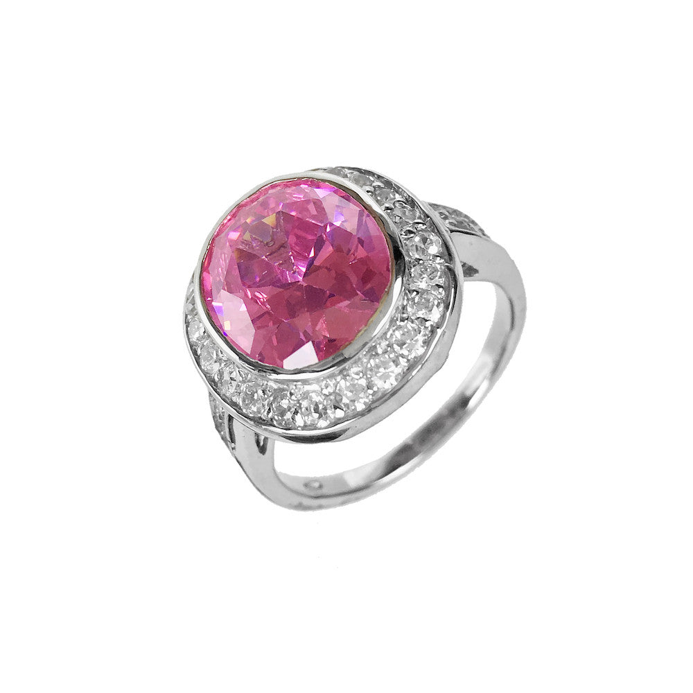 Pink Oval Cocktail Ring