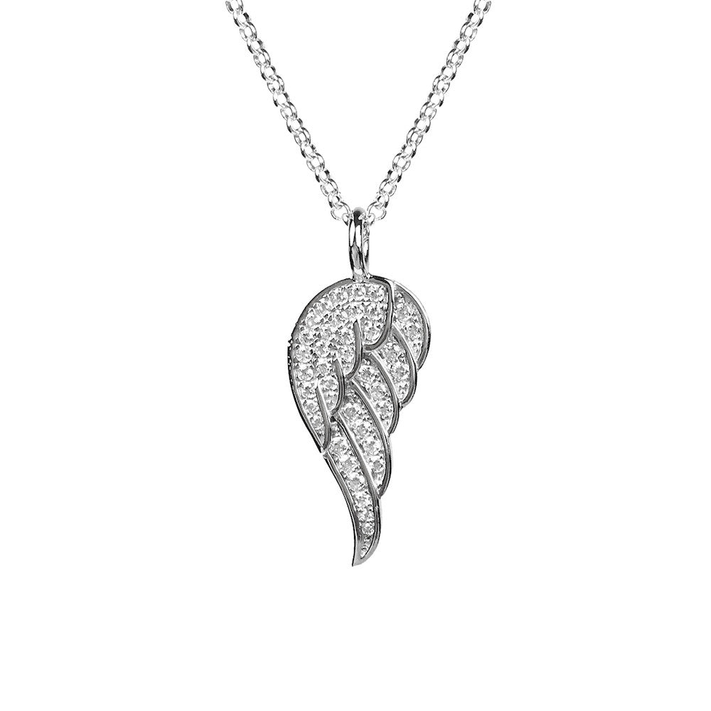 Angel Wing from Heaven Necklace Sterling Silver - www.sparklingjewellery.com
