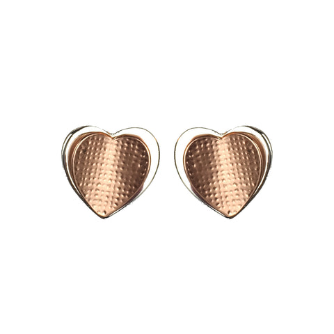 Two Tone Rose Gold and Silver Heart Earrings