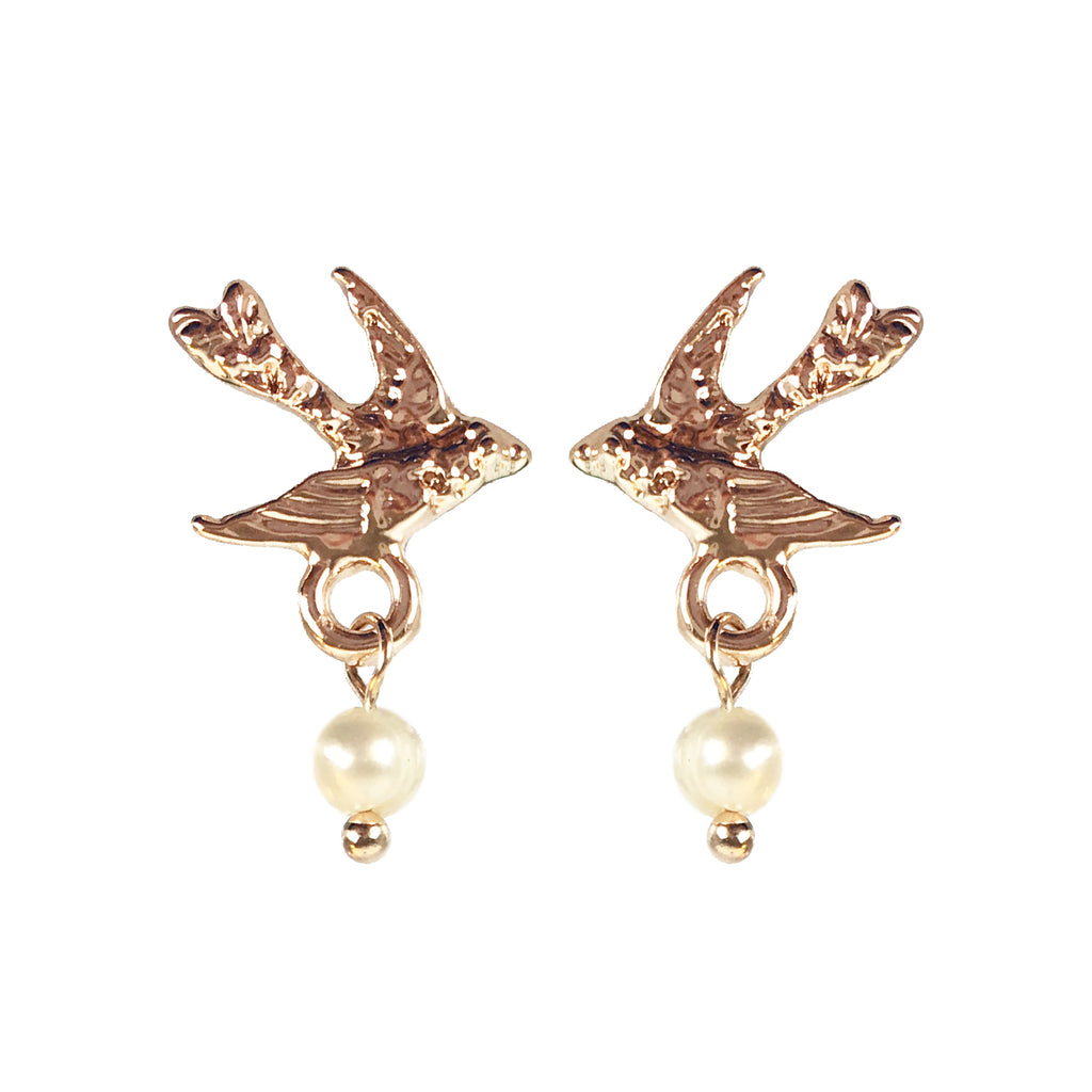 Rose Gold or Silver Bird with Pearl Earrings - www.sparklingjewellery.com