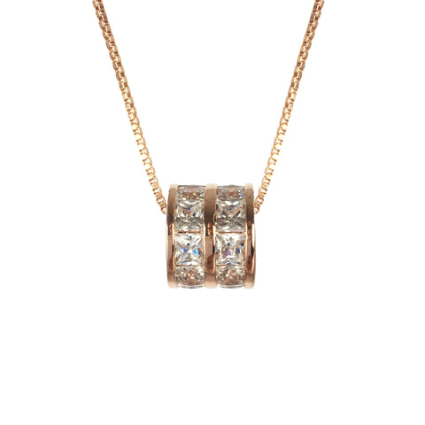 Cubic Zirconia Rose Gold Barrel Necklace