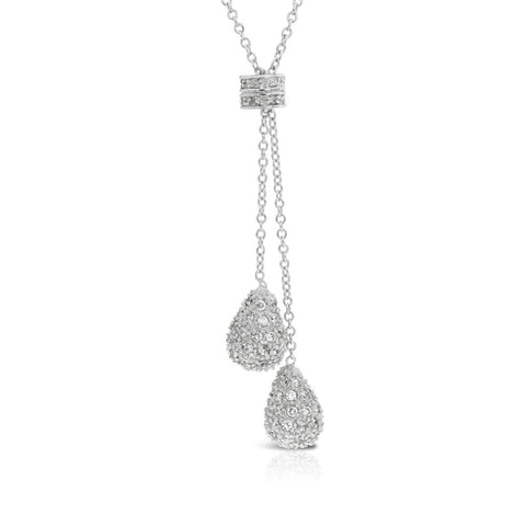 Pave Pear Silver Pendant Necklace
