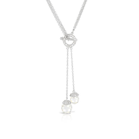 Crystal Ball Silver Tumble Toggle Necklace