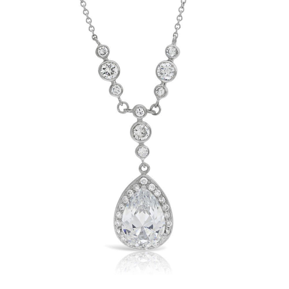 Katie Price Silver Pear Cut Bridal Necklace - www.sparklingjewellery.com