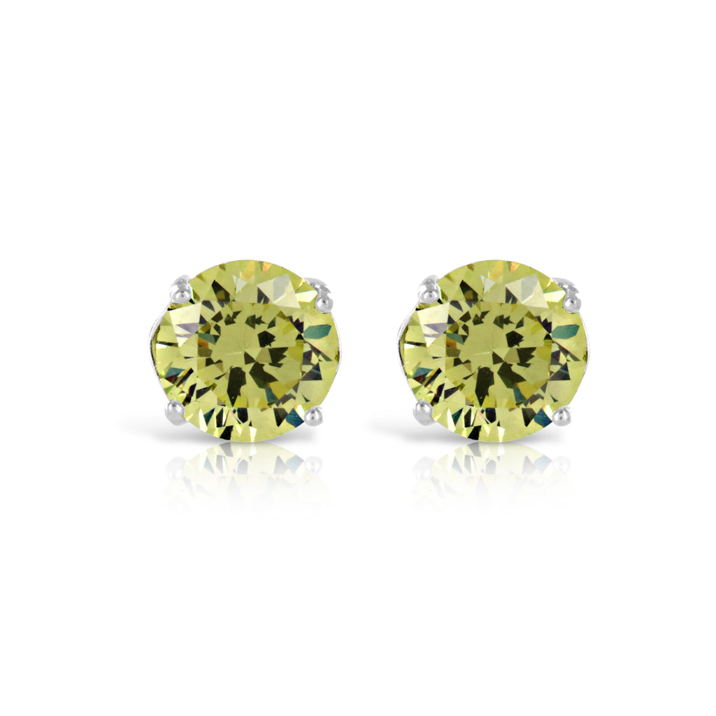 Peridot Green Stud Earrings - www.sparklingjewellery.com