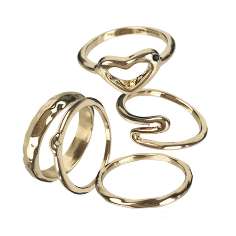 Set of 5 Gold Stacking Rings - www.sparklingjewellery.com