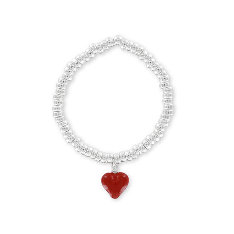 Silver Charm Bracelet with Red Valentine Heart