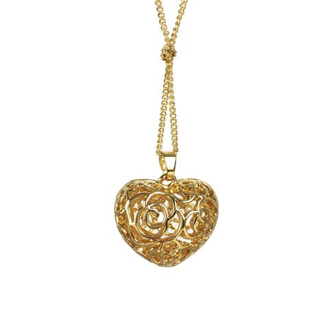 Long Chain Filigree Heart Necklace - www.sparklingjewellery.com