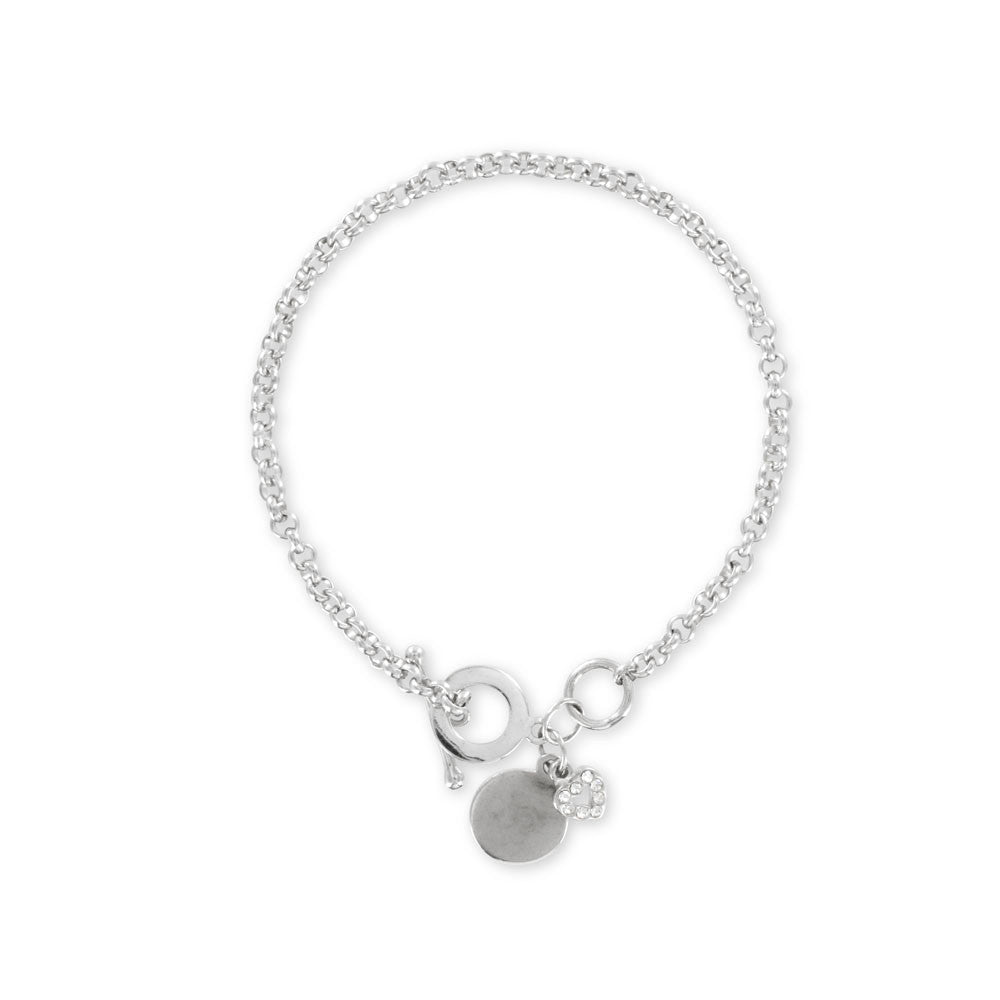 Toggle Bracelet with Heart Charm Sterling Silver - www.sparklingjewellery.com
