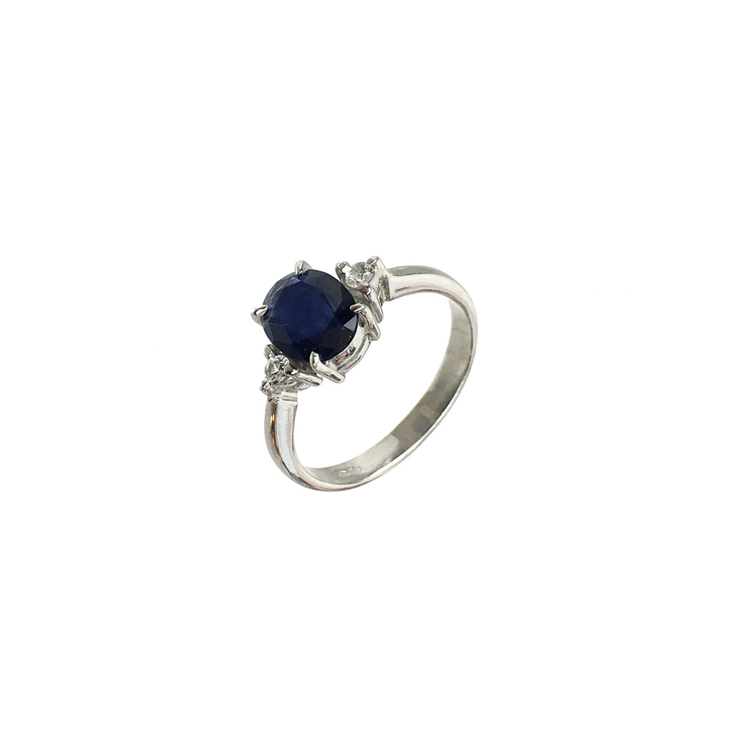 Oval Blue Sapphire White Topaz Engagement Ring - www.sparklingjewellery.com