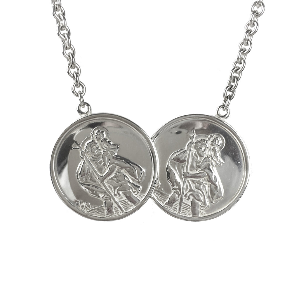 Extra Large Mens St Christopher Two Coin Necklace