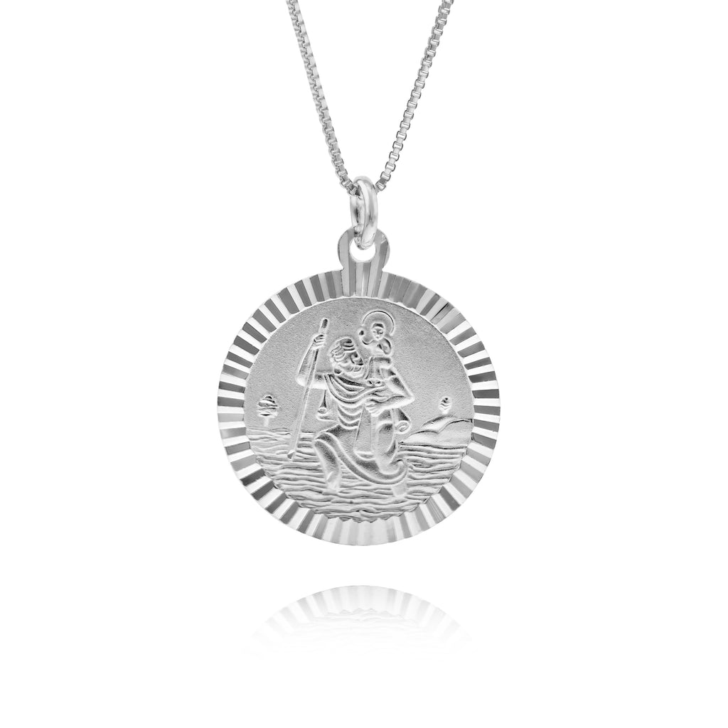 Small Scalloped Edge St Christopher Necklace - www.sparklingjewellery.com
