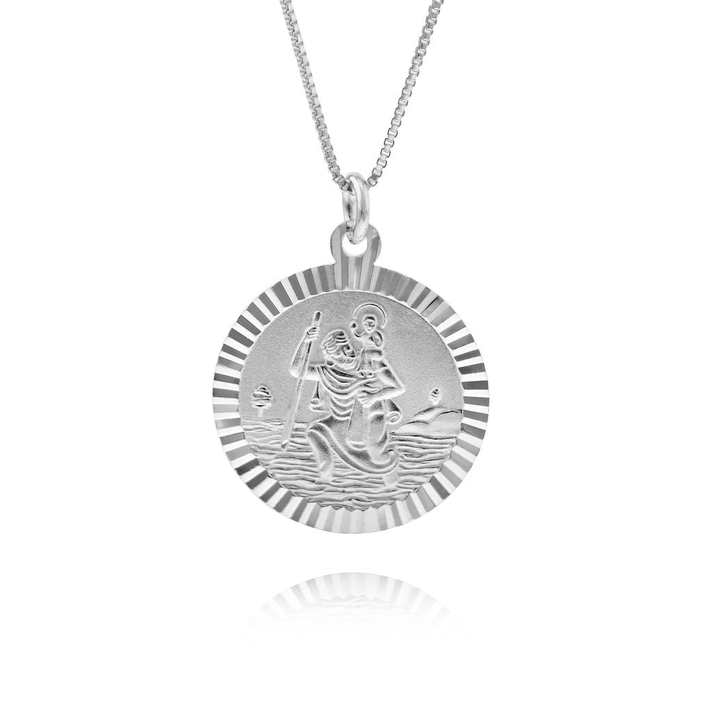 Silver Scalloped Edge St Christopher Necklace - www.sparklingjewellery.com