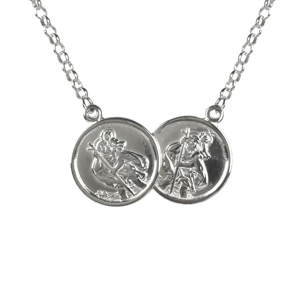 Children's 925 Sterling Silver St Christopher Two Coin Necklace - www.sparklingjewellery.com