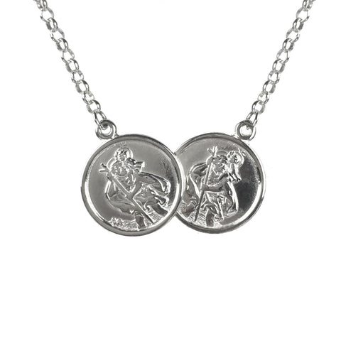 Children's Sterling Silver St Christopher Two Coin Necklace