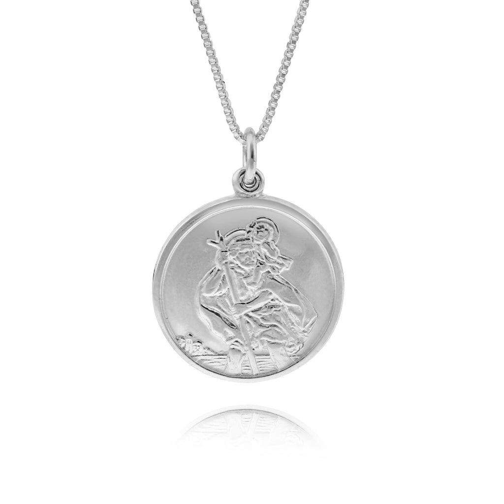 Single St Christopher Coin Necklace - www.sparklingjewellery.com
