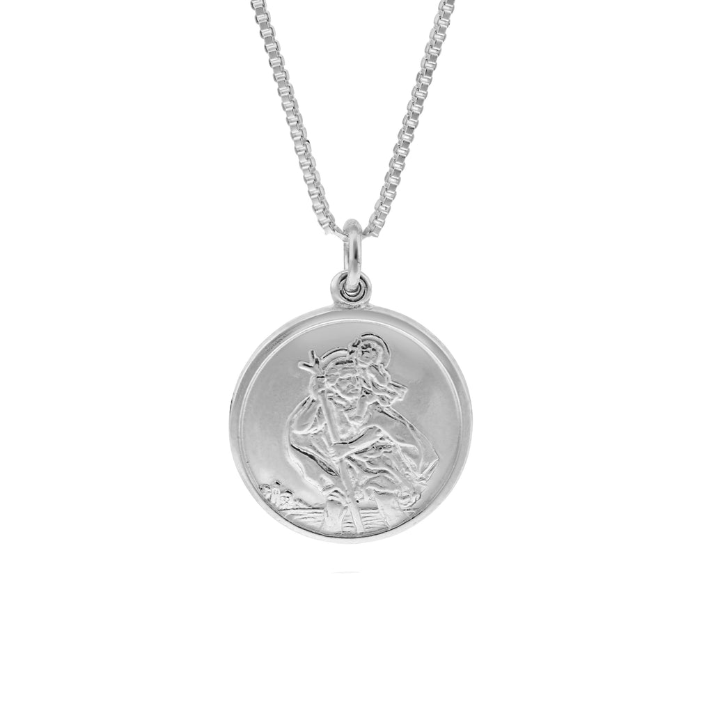 Small Double Sided Silver St Christopher Necklace - www.sparklingjewellery.com